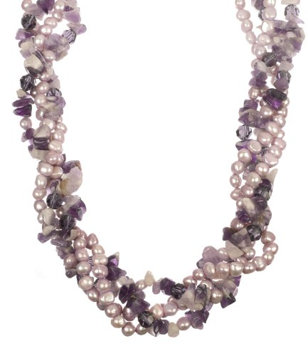 Lavender Colored Fresh Water Pearl, Purple Faceted Cut Glass Bead and Amethyst Chip with Silver Tone Shortener Twister Necklace
