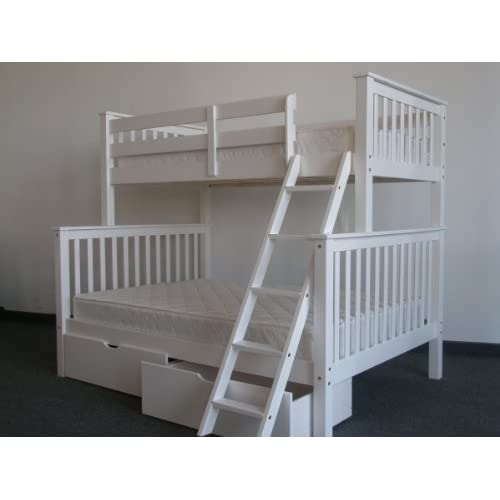Bedz King Bunk Bed with 2 Under Bed Drawers, Twin Over Full Mission Style, White