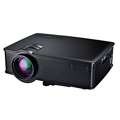 Mpow Mini Poryector Full HD 800*480 hasta 1080P Multifuncional con Interfaz de Entrada HDMI VGA USB SD y 5V/0.5A de USB para Cargar. Proyector Portátil de Receptor de Infrarojos, Color Nítidos y Vídeo Fluido, Apoya a Enfoque Manual Inclinación + / - 15 ° Incorporado de 3w Altavoz