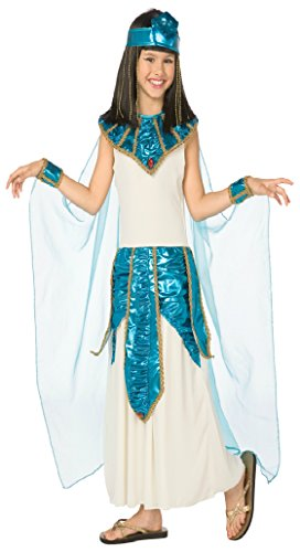 Girls Cleopatra Blue Gold Kids Child Fancy Dress Party Halloween Costume