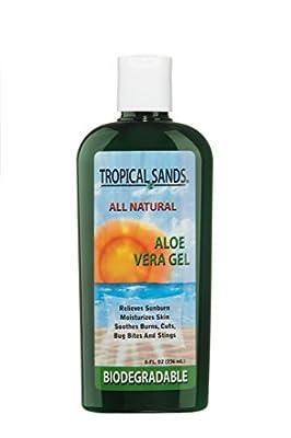 Tropical Sands All Natural Aloe Vera Gel - 100% Pure Aloe Vera Gel, Biodegradable, 8 fl Oz
