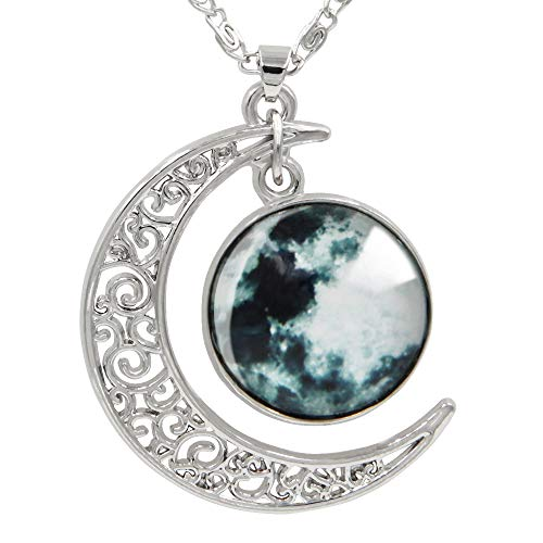 "FANSING Womens Marvelous Necklace, Full Moon Pendant Necklaces, Universe Space Jewelry, 18"" + 2"" Chain"