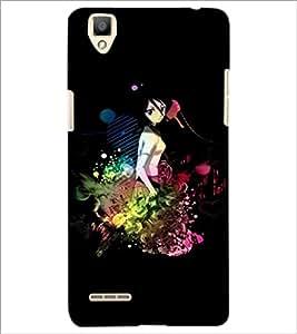 PrintDhaba Sweet Girl D-3367 Back Case Cover for OPPO F1 (Multi-Coloured)