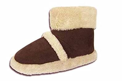 New Ladies Coolers Branded FUR COLLAR Microsuede Textile Upper Fluffy Lined Snugg Boot Slipper 316 Brown UK size 3-4
