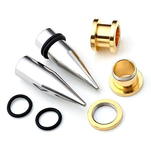 piercingj 4pcs kits acier inoxydable boucle clou d oreille tunnel conique plug ecarteur. Black Bedroom Furniture Sets. Home Design Ideas