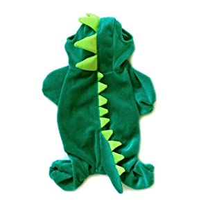 Dogs Cat Pets Jumpsuit Crocodile Clothes Godzilla Apparel Dragon T-rex Dinosaur Raptor Plush Costumes T Shirt Green / Red (Grass-green 4 Legs, Xs)