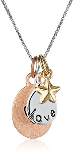 """Tri-Colored Gold Flashed Sterling Silver """"Love"""" with Heart and Star Three-Charm Necklace, 18"""""""