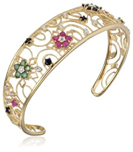 Yellow Gold-Plated Sterling Silver Sapphire, Ruby, & Emerald Flower Bangle Bracelet