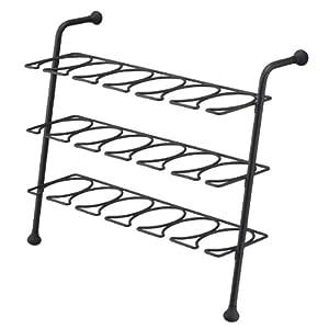 eiffel 3 tier black metal shoe rack for
