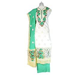 Lattice Embroidered Cotton Straight Dress Material Set