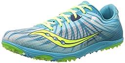 Saucony Women\'s Carrera XC Flat Running Shoe,White/Blue/Citron,5.5 M US