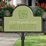 Personalized Yard Stake Address Plaque - Floral Monogram