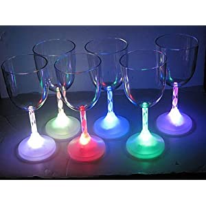 Light Up LED Acrylic Wine Glasses set of 6 colors