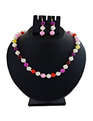 Nisa Pearls Strand Necklace Set For Women With Multi Color Beads