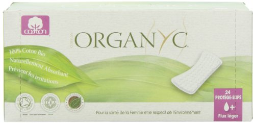ORGANYC Hypoallergenic 100% Organic Cotton Panty Liners, flat, 24 Count Box