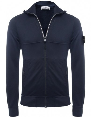 Stone Island Men's Sweater Navy Zip-Through Hooded Sweatshirt XXXL