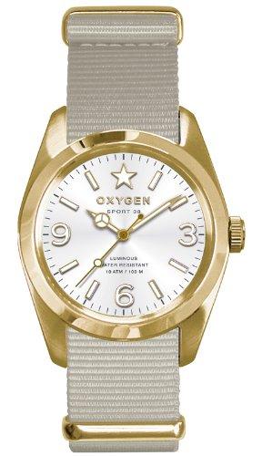 Oxygen - EX-S-NUG-38-IV - Sport - Montre Homme - Quartz Analogique - Cadran Blanc - Bracelet Nylon Blanc
