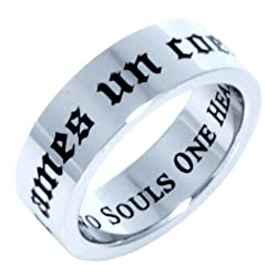 TWO SOULS ONE HEART RING - (FRENCH & ENGLISH) - Inspirational Jewelry- High quality etched stainless steel ring. Hypo-allergenic. Inspirational Relationship Jewelry Wedding Band / Wedding Ring / Promise Ring / Poesy Ring.