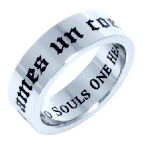 TWO SOULS ONE HEART RING - (FRENCH & ENGLISH) - Inspirational Jewelry- High quality etched stainless steel ring. Hypo-allergenic. Inspirational Relationship Jewelry Wedding Band / Wedding Ring / Promise Ring / Poesy Ring. SIZE 11
