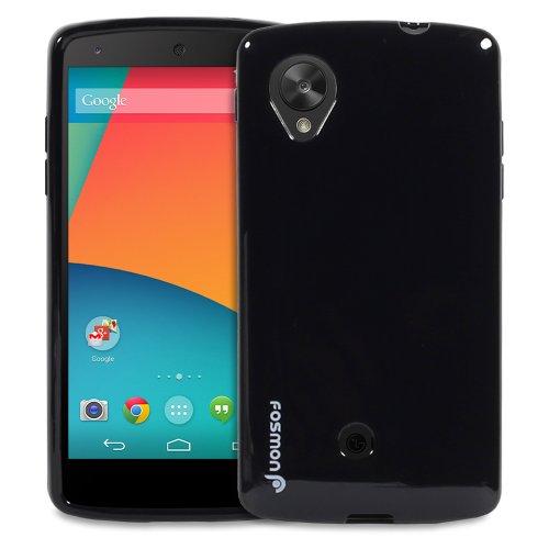 Fosmon DURA-CANDY Series Ultra Slim Flexible TPU Case Cover for Google Nexus 5 - Fosmon Retail Packaging (Black)