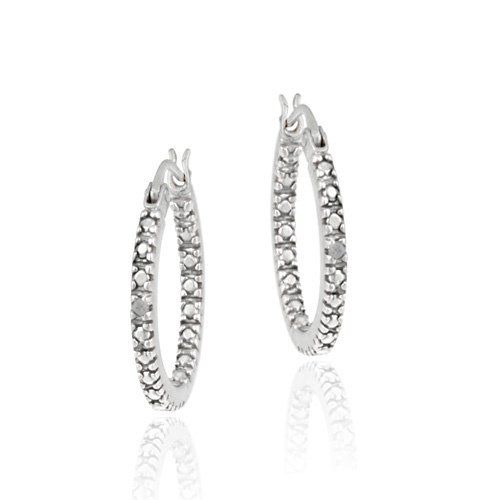 Sterling Silver Diamond Accent 18mm Inside Out Hoop Earrings