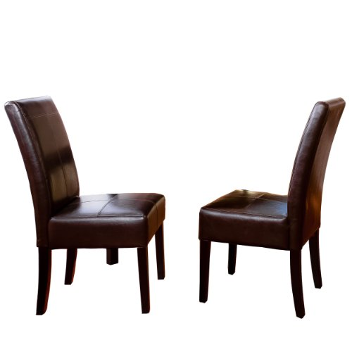 Best Selling Chocolate Brown T-Stitch Leather Dining Chair, 2-Pack (Chocolate Brown Chair compare prices)