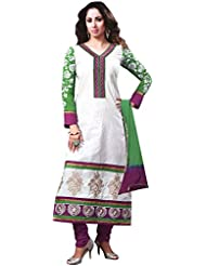 Exotic India Snow-White Long Choodidaar Kameez Suit With Embroidered Pat - White