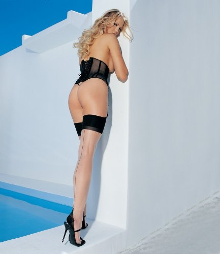 New Ladies Cuban Heel Backseam Nylon Stockings. Require Suspender. Available One Size And Plus Size