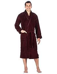 Mens Premium Coral Fleece Plush Spa/Bath Robe - Fig - Large/XLarge