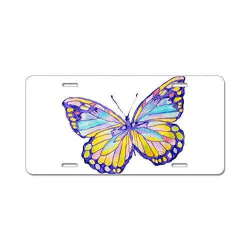 CafePress Viola dipinto farfalla Targa in alluminio, Standard, colore: multicolore