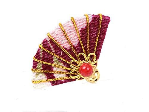 手作り 扇子 和扇 ヘアピン パープル 和装浴衣着物など 髪飾り