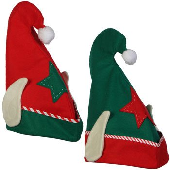 "Felt Elf Hat with Ears, 13 3/4"" - Random Red or Green"