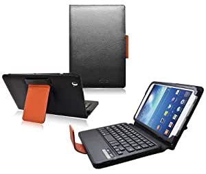 COD(TM) Bluetooth Keyboard Tablet Stand Leather Case for Samsung Galaxy Tab 3 8.0 inch (Black/Brown)