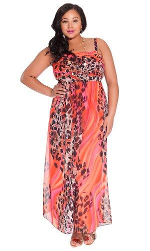 Igigi Women'S Plus Size Rene Tube Maxi Dress In Fuchsia Leopard 22/24
