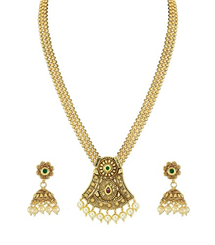 Zaveri Pearls Pearl & Kundan Gold Pendant Necklace With Earrings Set For Women