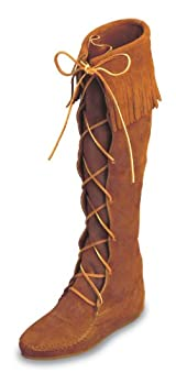 Front Lace Hardsole Knee Hi Boot in Brown Suede