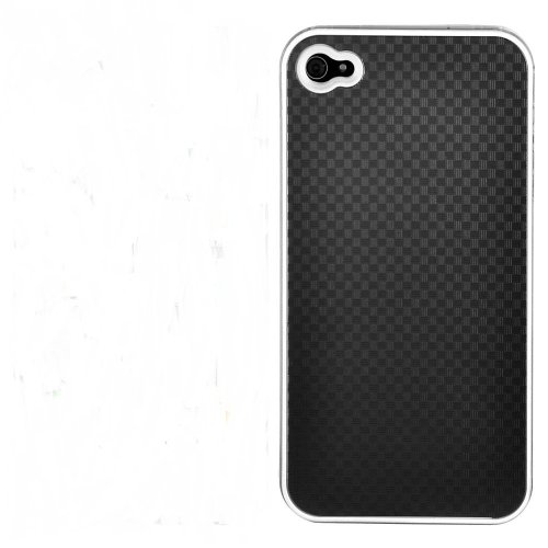 MEElectronics CrsC-iPh4-AlumCar-BK Aluminum Carbon Fiber Plated Crystal Case and Screen Protector for the Apple iPhone 4, Fits AT&T iPhone (Black)