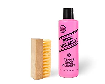 Pink Miracle Bottle - Shoe Cleaner - 8 Oz. Fabric Cleaner Solution With Free BONUS Brush - Works on Leather, Whites, Nubuck, Golf Shoes, Basketball Shoes, Boots, Sandals, Home and Car Upholstery - NON TOXIC