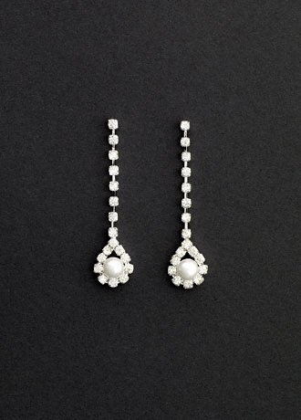 David's Bridal Crystal Linear Earings with Pearl Drop Style ER110710, Pearl/White