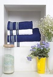 Spaces Bath Carnival  4 Piece 420 GSM Cotton Towel Set - Aqua and White