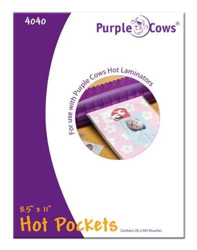 Purple Cows Hot Pockets Laminating Pouches, 20-Pack, 8-1/2-Inch-by-11-Inch for PC3020