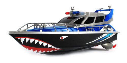 Tiger Shark Warship Patrol Electric Rc Speed Boat 4 Channel Rtr Ready To Run, Rechargeable Batteries (Colors May Vary)