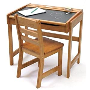 Lipper International Childs Chalkboard Desk And Chair Set Pecan from Lipper