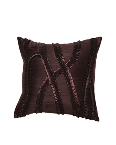 Bandhini Homewear Design Pleated Curves Throw Pillow, Chocolate