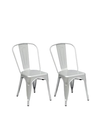 Manhattan Living Set of 2 Broadway Side Chairs, Gunmetal