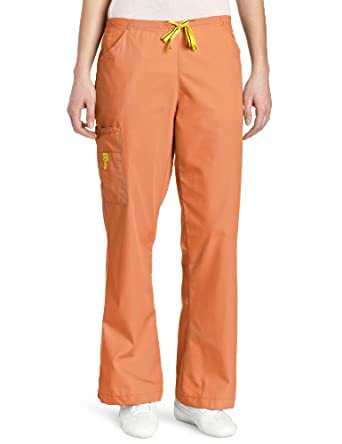 WonderWink Women's Scrubs Romeo 6 Pocket Flare Leg Pant, Orange Sherbet, XX-Small/Petite