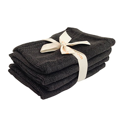 Shoo foo charcoal bamboo bath mitts bundle 4 pack for Charcoal bathroom accessories