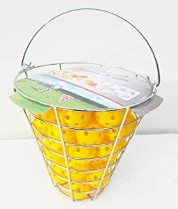 A99 Golf 120pcs Air Flow Practice Balls Plastic orange white yellow with iron bucket by A99 Golf