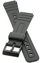 PerFit® Resin Watch Band + Spring Rods for Casio 71604002 F-105 F-105W F-91 F-91W F-94 F-94W, Black