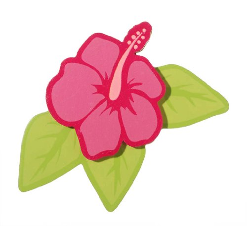 Darice 9189-42 Painted Wood Hibiscus and Leaves Shape Cutout, 5mm